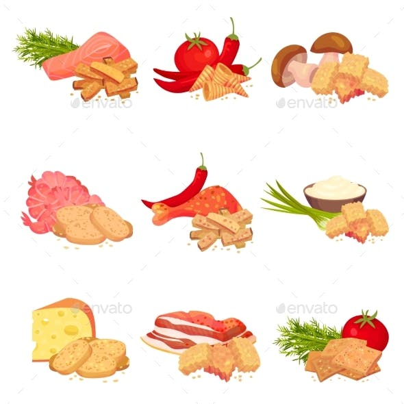 Set of Images of Pieces of Croutons of Bread