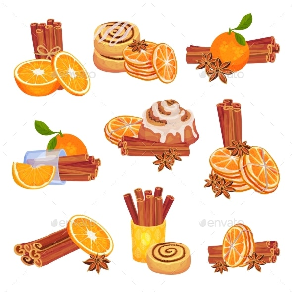 Set of Images of Cinnamon Oranges and Buns - Food Objects