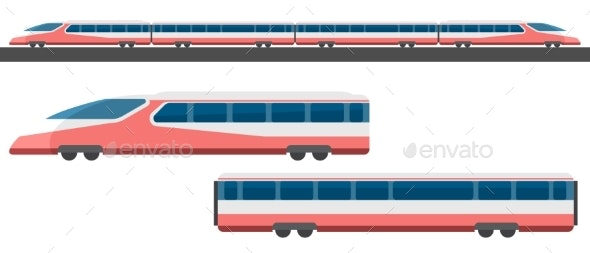 Passenger Express Train with Side View - Miscellaneous Vectors