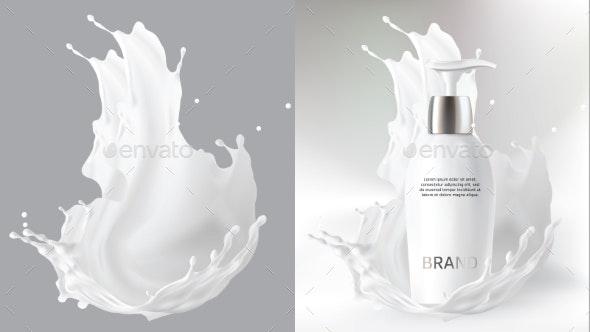 Milk Cosmetics Realistic Vector Blurred Background - Health/Medicine Conceptual