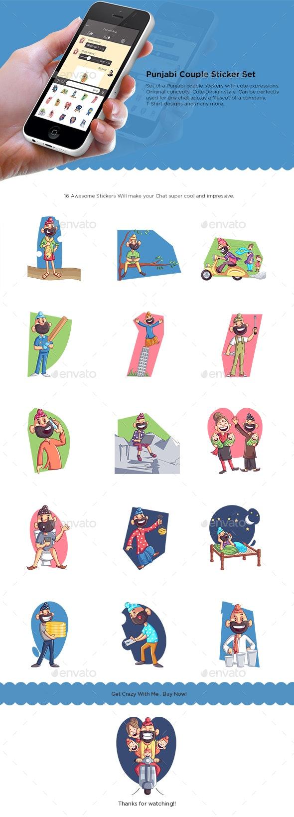 Punjabi Couple Sticker Set - People Characters