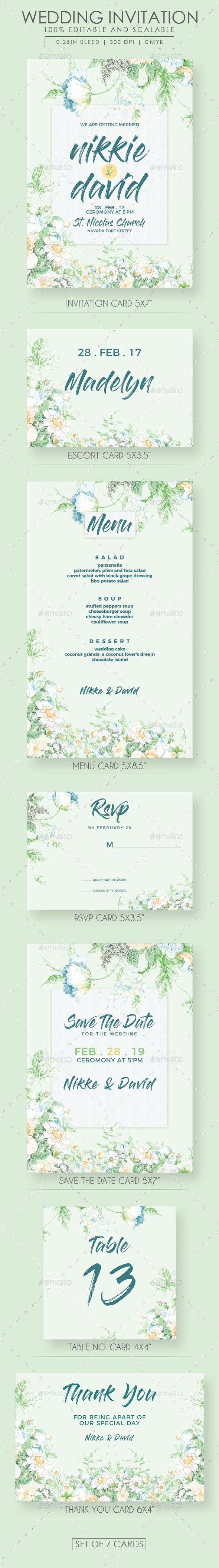Floral Wedding Invitation Suite - Weddings Cards & Invites