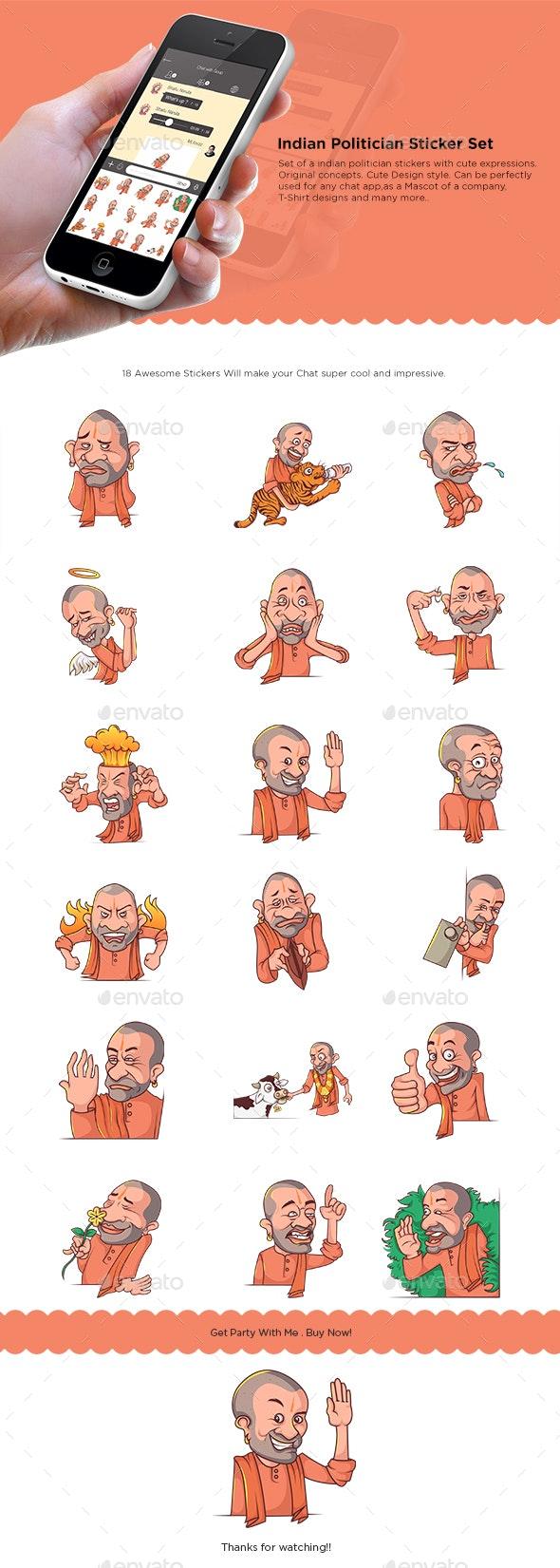 Yogi Politician Stickers Set - People Characters