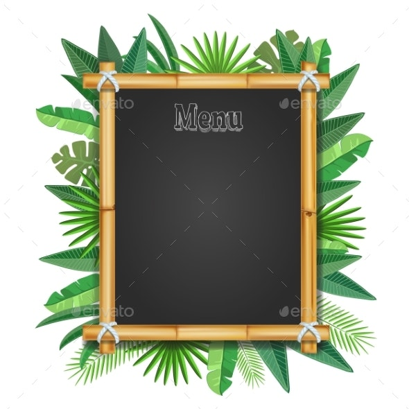 Bamboo Frame with Tropical Leaves Realistic - Flowers & Plants Nature