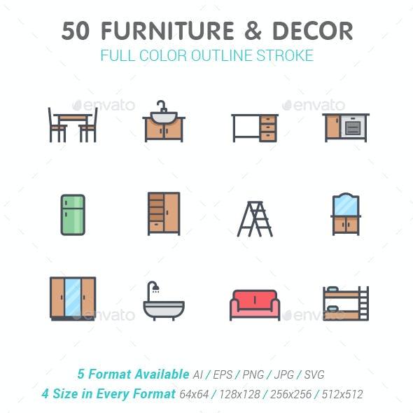 50 Furniture & Decor Full-Color Icon