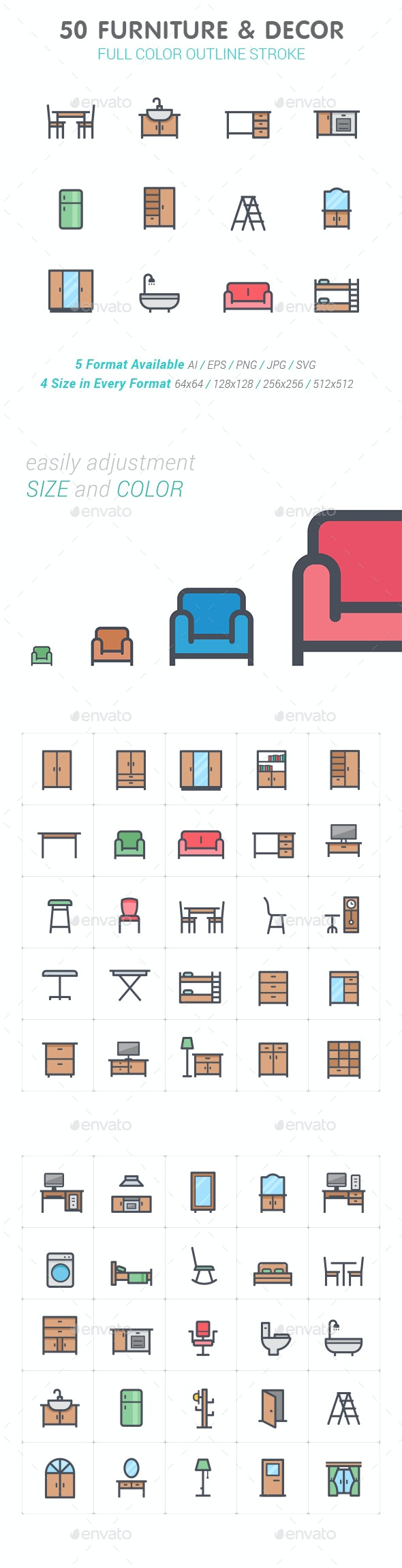 50 Furniture & Decor Full-Color Icon - Objects Icons