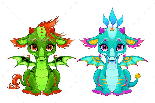 Baby Dragons with Eyes and Smile - Animals Characters