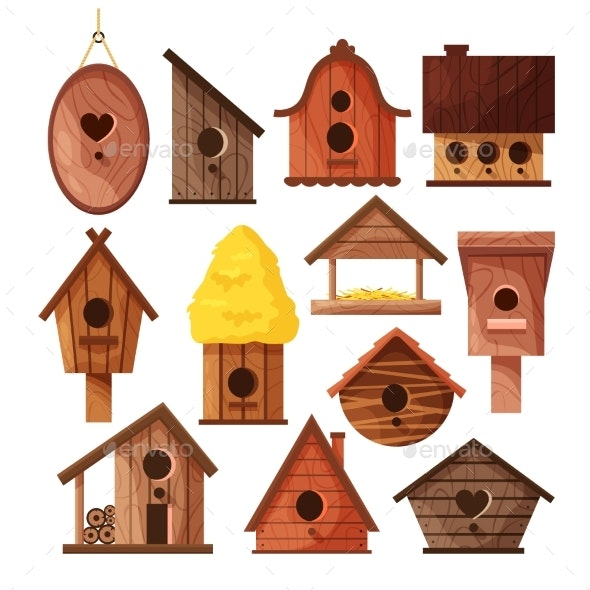 Set of Different Wooden Handmade Bird Houses - Man-made Objects Objects