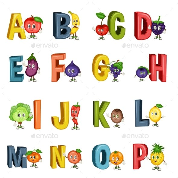 Fruit Alphabet Letters from A to Z