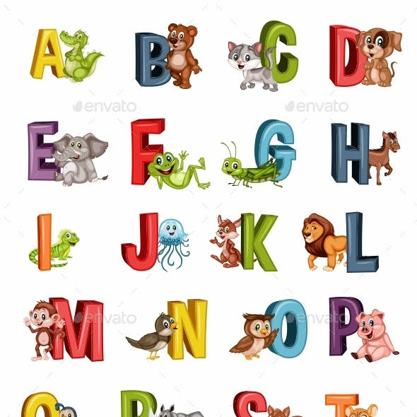Cartoon Illustrated Animal Alphabet Letters from A to Z