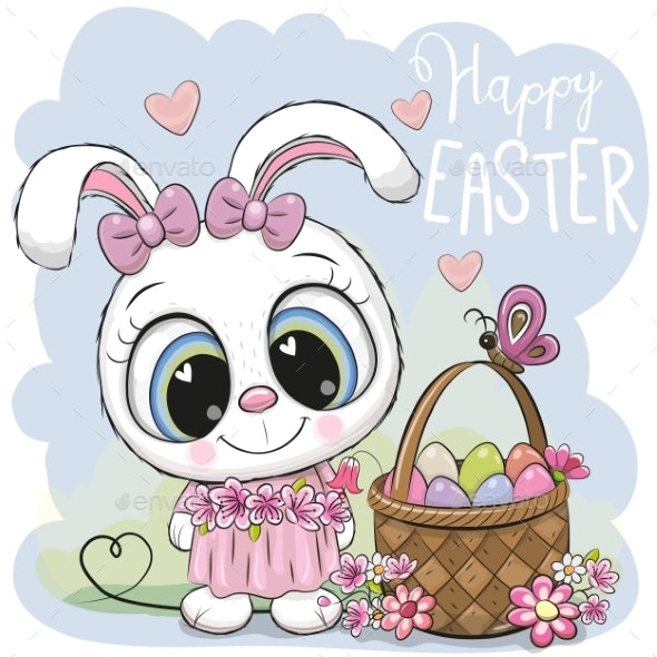 Cartoon Bunny with a Basket of Easter Eggs - Miscellaneous Vectors