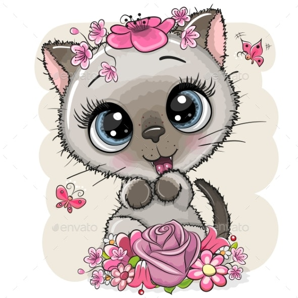 Cartoon Kitten with Flowers on a White Background - Animals Characters
