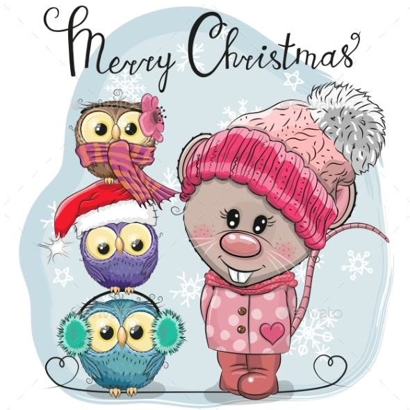 Greeting Christmas Card Rat and Three Owls - Animals Characters