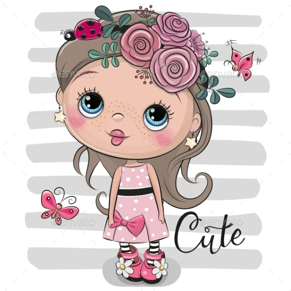 Cartoon Girl with Flowers and Ladybug - People Characters