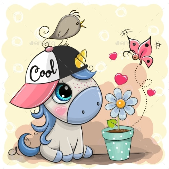 Cartoon Unicorn with Flower - Animals Characters
