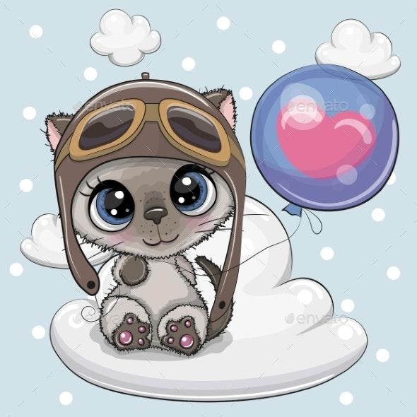 Cartoon Kitten Boy with Balloon - Animals Characters