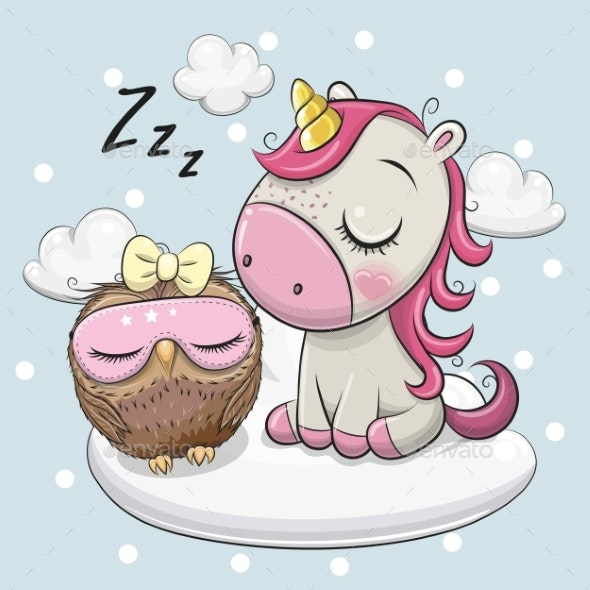Unicorn and Owl on the Cloud - Miscellaneous Characters