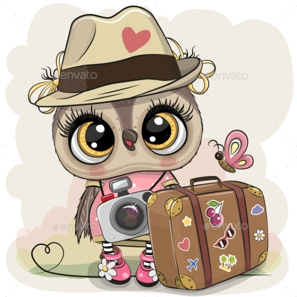 Cartoon Owl in a Hat with Luggage - Travel Conceptual