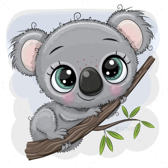 Koala is Sitting on a Tree - Animals Characters