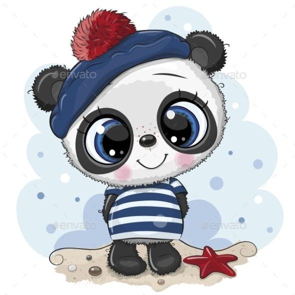Cartoon Panda in Sailor Costume - Animals Characters