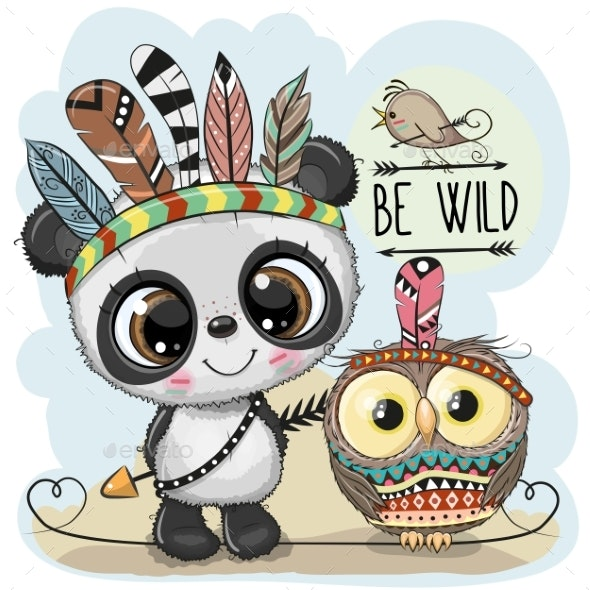Tribal Panda and Owl - Animals Characters