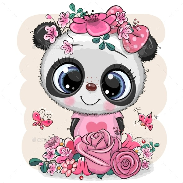 Panda with Flowers on a White Background - Animals Characters