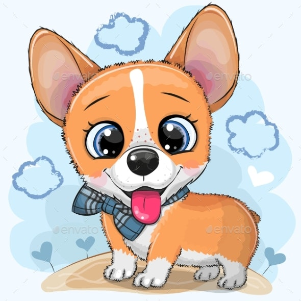 Cartoon Dog Corgi with a Bowtie - Animals Characters