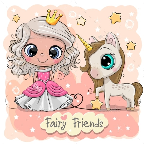 Cartoon Fairy Tale Princess and Unicorn - Miscellaneous Characters