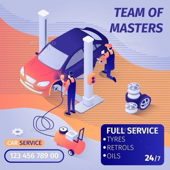 Banner Advertises Skilled Teamwork in Car Service - Services Commercial / Shopping