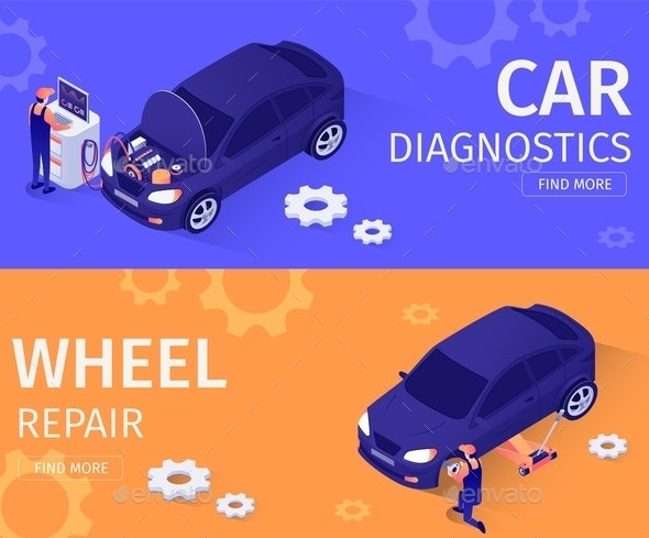 Set for Car Diagnostics and Wheel Repair Service - Services Commercial / Shopping
