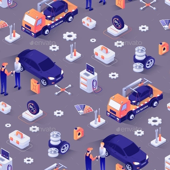 Seamless Pattern with Car Repair Service Concept - Industries Business