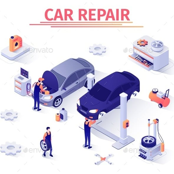 Isometric Banner with Car Repair Process in Garage