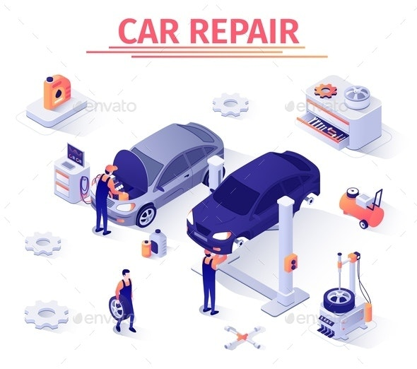Isometric Banner with Car Repair Process in Garage - Services Commercial / Shopping