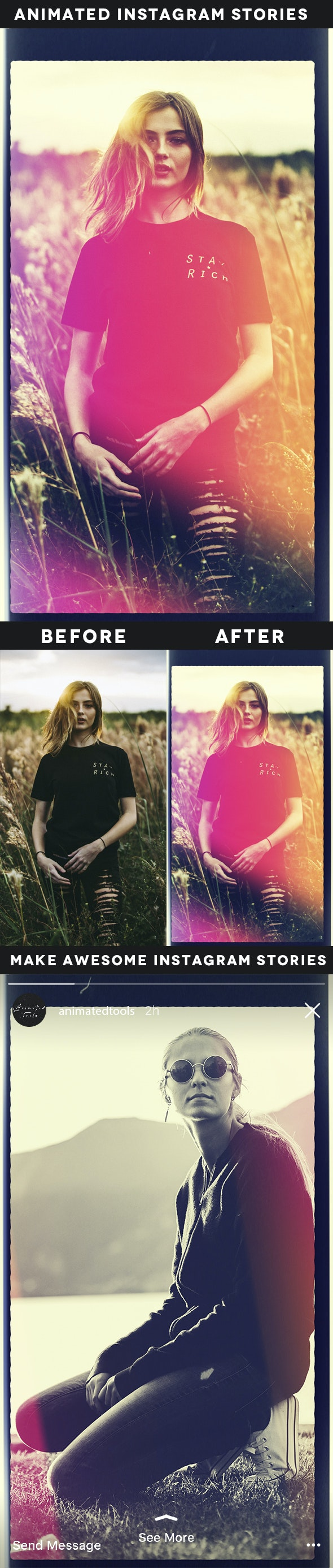 Animated Light Leaks Instagram Stories Action - Photo Effects Actions