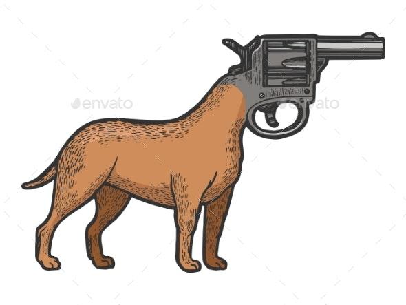 Revolver Gun As Dog Head Color Sketch Engraving - Miscellaneous Conceptual