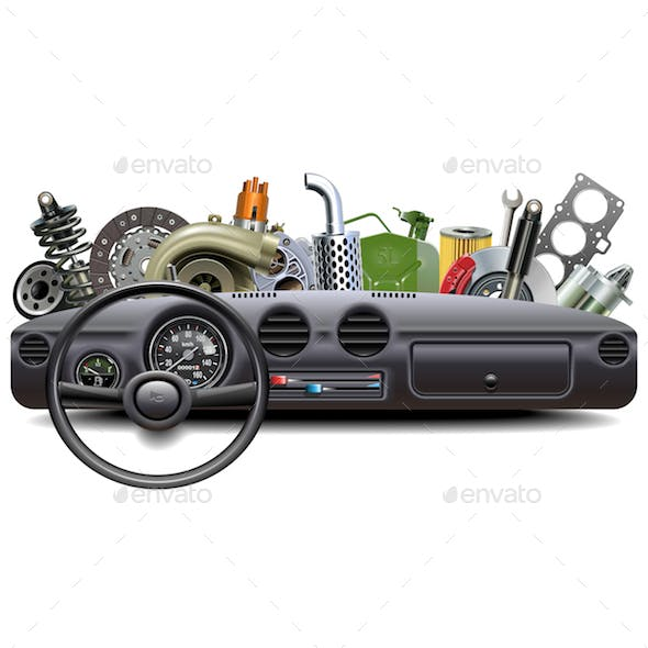 Vector Car Dashboard with Spare Parts