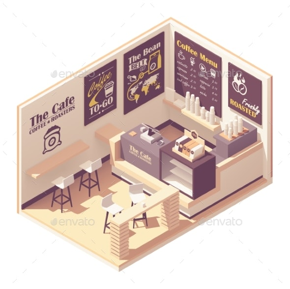 Vector Isometric Small Coffeehouse - Buildings Objects