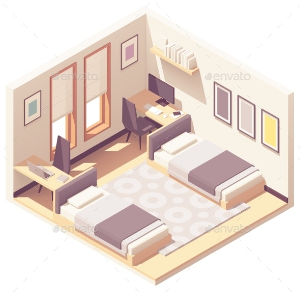Vector Isometric Dormitory or Dorm Room - Buildings Objects