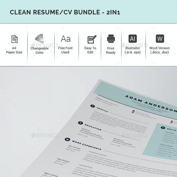 Clean Resume/CV Bundle - 2in1