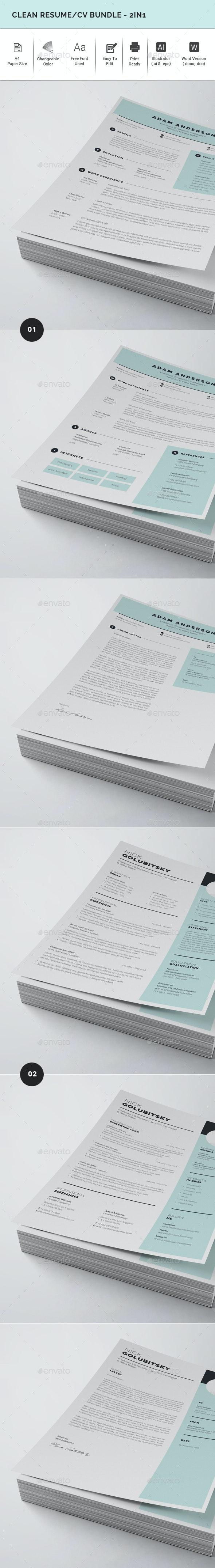 Clean Resume/CV Bundle - 2in1 - Resumes Stationery