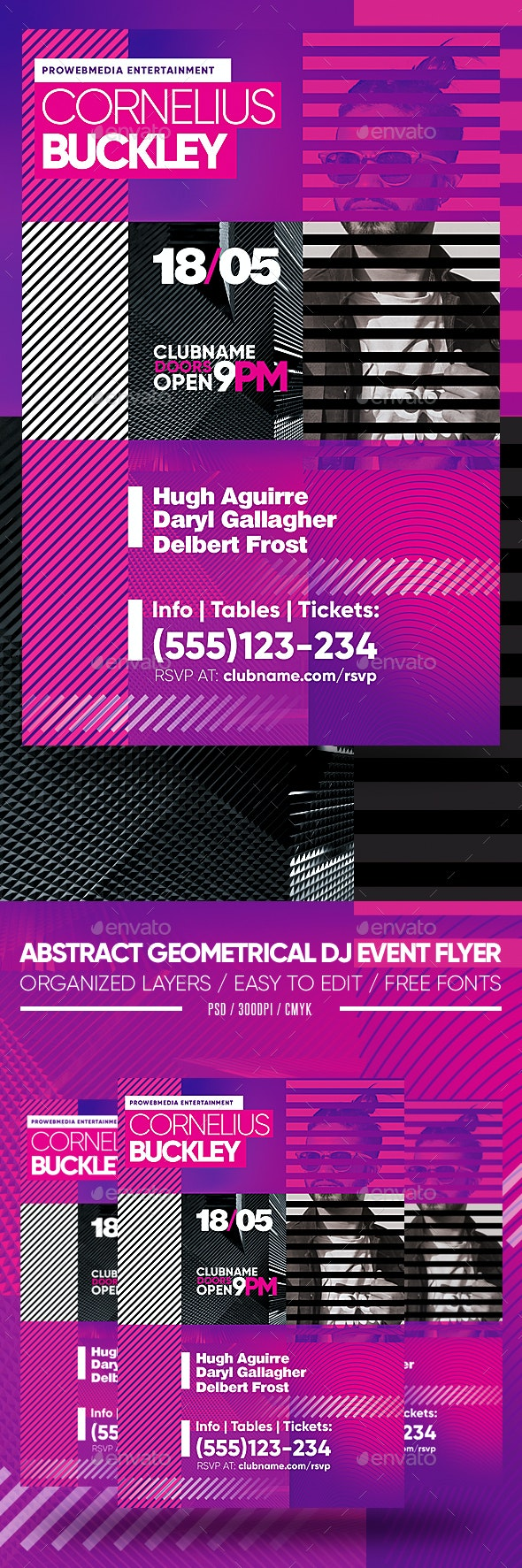 Abstract Geometrical DJ Event Flyer - Clubs & Parties Events