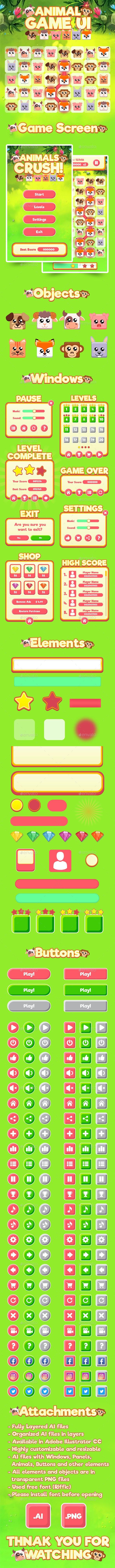 Animal Gam UI Kit - User Interfaces Game Assets