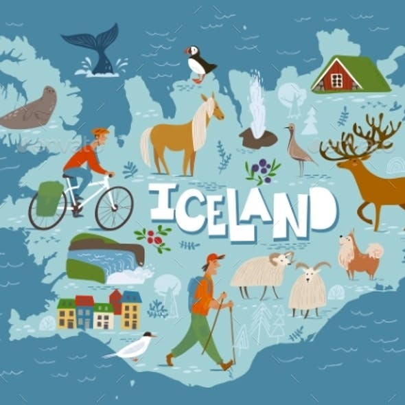 Travel Vector Map of Iceland with Animals