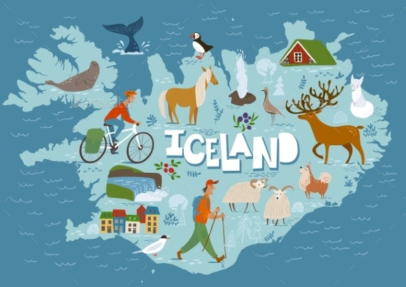 Travel Vector Map of Iceland with Animals - Animals Characters