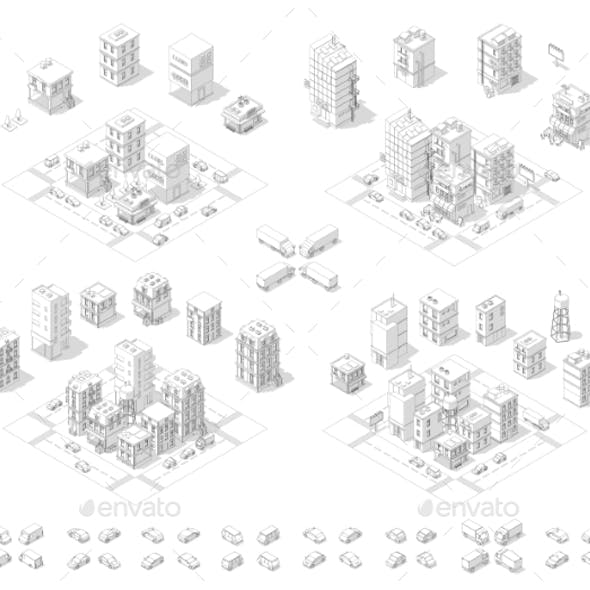 City Isometric Set Cityscape Infrastructure