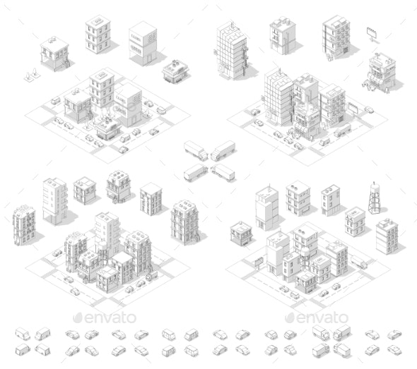 City Isometric Set Cityscape Infrastructure - Buildings Objects