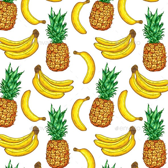 Tropical Pattern with Pineapple and Banana