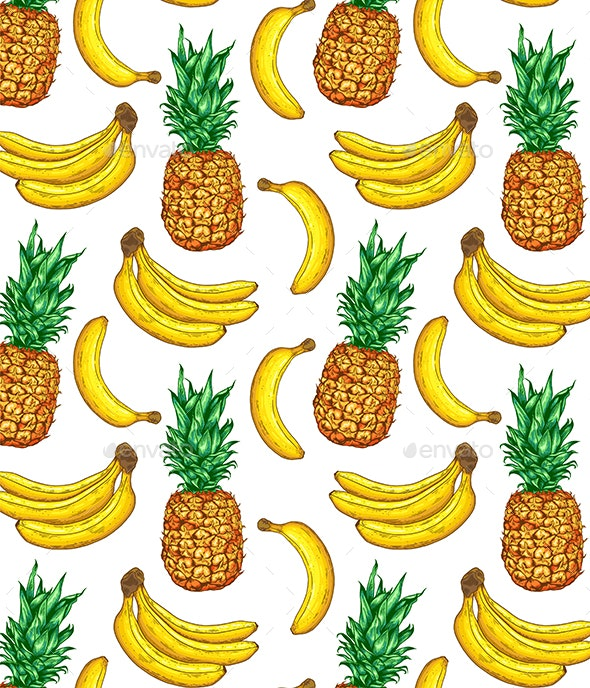 Tropical Pattern with Pineapple and Banana - Food Objects
