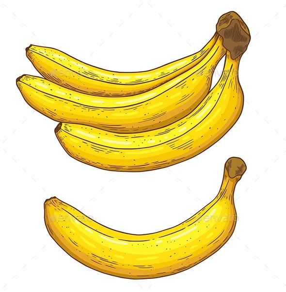 Hand Drawn Ripe Yellow Bananas - Food Objects