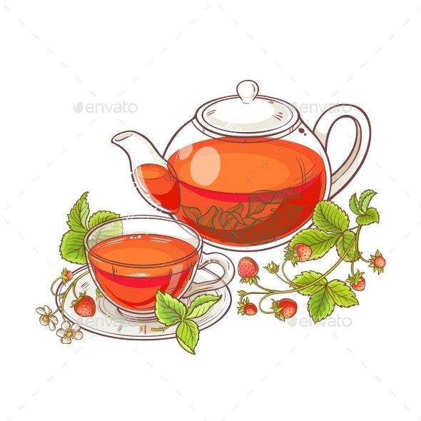Strawberry Tea Illustration - Food Objects